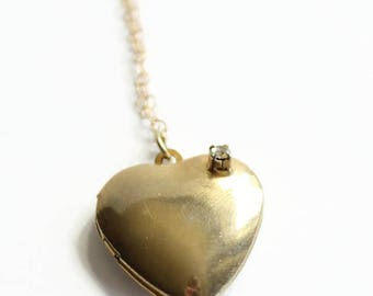 Vintage Heart Locket Necklace with Rhinestone, Gold Filled Necklace, Circa 1950's