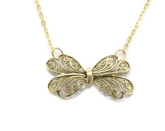 Gold Bow Necklace, Bow Necklace, 9ct Gold Bow, Large Bow Necklace, Bow Pendant, Gold Bow, Bow Jewellery, Filigree Bow Necklace, 9ct Gold Bow
