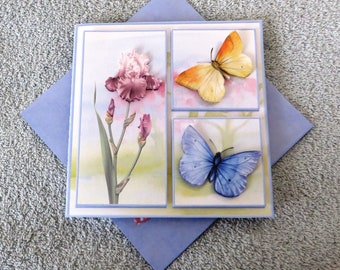 Handmade flowers and flutters get well card with envelope