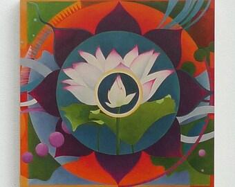"Lotus5, 8""x8"" giclee print on wood"
