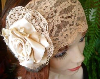 womens lace  Headpiece Bridal Hairpiece  vintage style fascinator boho hippie lace satin flower