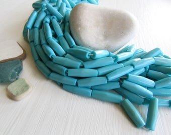turquoise blue tube bone beads,  small hairpipe natural Irregular look,  boho exotic beads 19 to 21mm long  (10 beads) 6DB7-3