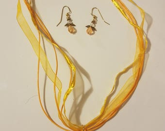 Amber angel necklace/earrings set