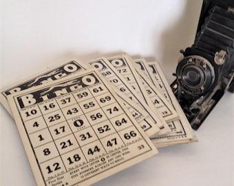 Vintage Black and White Bingo Cards, 4 Sets of 20, Ephemera, Game Night, Great Find, Craft Supply