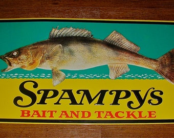 SPAMPYS Bait  and Tackle Metal / Tin Advertising Fish / Fishing Sign