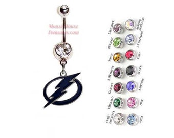 NHL Tampa Bay Lightning Logo Belly Ring. Authentic Charm on Your Choice of Gem Colors!