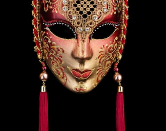 Venetian Mask Penelope Red and Gold