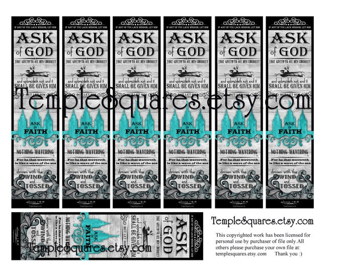 PRINTABLES Bookmarks 2 sizes LDS YW Young Women Theme Chalkboard style Ask of God Ask in Faith James 1: 5-6 Temple Art Collage