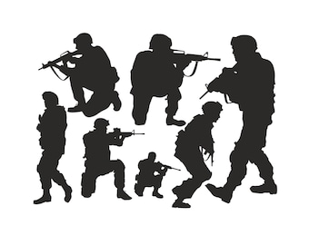 Action Soldiers Set -  wall art vinyl decal stickers
