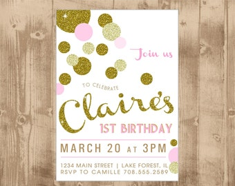 Printable Pink and Gold Invitation - First Birthday Party - little girl - baby girl - gold glitter