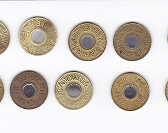 Ten 1986 bullseye nyc new york city subway transit tokens