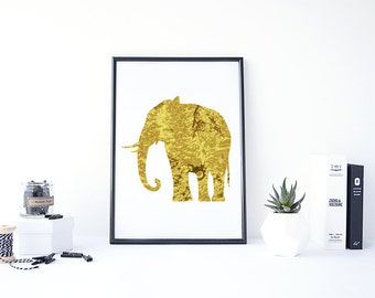 Gold Elephant Print, Gold Foil Print Art, Gold Foil Digital, Elephant Gold Art, Elephant Art Print, Elephant Silhouette