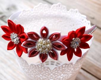 Red Kanzashi Flower Headband
