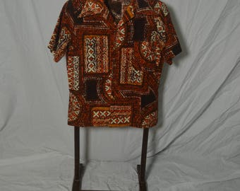 Vintage 50s 60s Barkcloth JC Penney Styled In California ORange Brown Hawaiian Shirt - Size Large