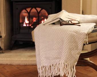 Personalised Anniversary Cotton Blanket Throw, Golden 50th Annniversary / 2nd Anniversary / Wedding gift (Natural Herringbone)