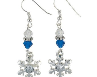 Silvertone Winter Snowflake Earrings