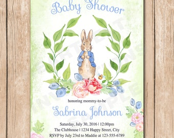 Peter Rabbit Baby Shower Invitation | Floral, Neutral, Vintage, Shabby Chic, Baby Book, Watercolor - 1.00 each printed