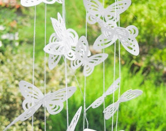 Monarch Butterfly Paper Garland, 3D Wedding Garland, White Paper Garland, Paper Butterfly Garland, Ceremony Backdrop, White Baby Shower