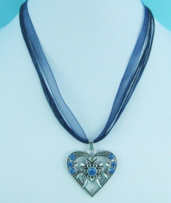 Blue Dirndl Oktoberfest Bavarian Necklace Edelweiss Rhinestone Pendant Heart