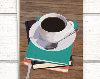 White Cup Coffee Card for book lovers. Bookworm card coffee & books. Great blank greeting card. Birthday card for bookworms and booklovers.