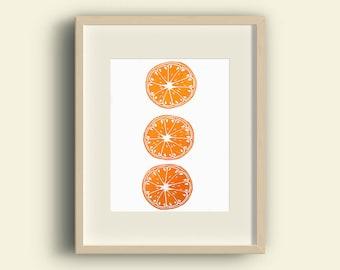Orange Citrus Lino Print. Botanical Fruit Art. Kitchen Decor. Orange Citrus slices. Original print. Fruit Print. Clementine Satsuma