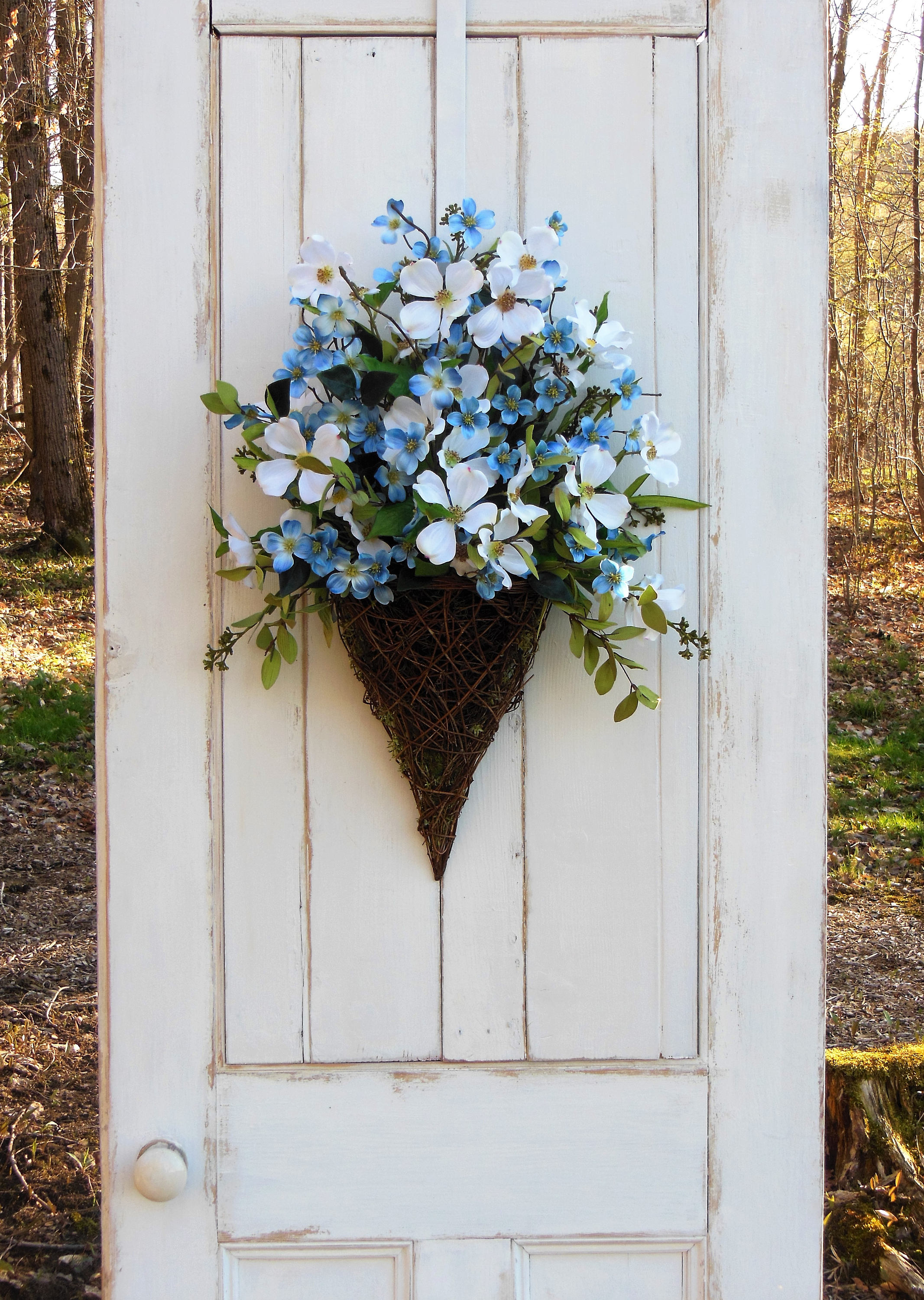 gallery photo gallery photo ... & Front Door Wreath Door Basket Blue Flower Wreath Summer Wreath ...