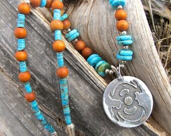 Southwestern Sterling Jackrabbit Necklace w Turquoise and Sandalwood