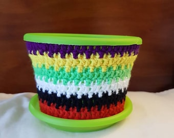 15cm round Modern Planter with Mexican Inspired Pot Cosy