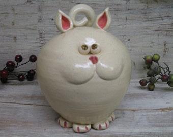 Ceramic Cat piggy bank kitty - Handmade Pottery by Heidi