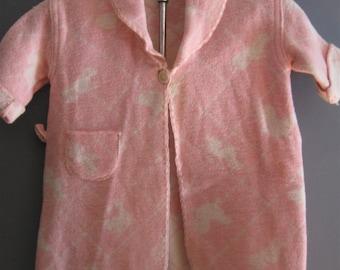 Vintage Child's Beacon Blanket Robe, Pink, Bear/Doll