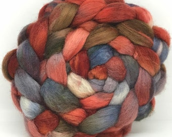 Spinning Fiber BFL/Bombyx 75/25 - 5oz - Rust and Iron 4