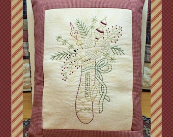 Peace Stocking--Primitive Stitchery E-PATTERN by Primitive Stitches-Instant Download