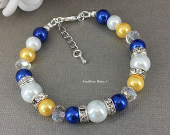 Royal Blue and Yellow Bracelet Bridesmaid Jewelry Maid of Honor Gift for Her Royal Blue Cobalt Blue Bright Yellow Summer Wedding