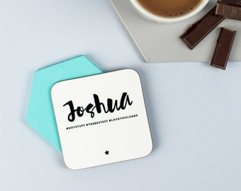 Monochrome #Hashtag Coaster - personalised gift, wedding favor, teacher gift custom coaster