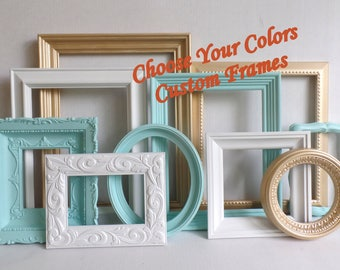 PICTURE FRAMES Custom - Choose Your Colors Custom Frame Collection - Distressed Frames - Gallery Wall - Wedding - Baby Nursery