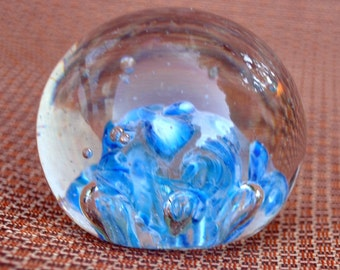 Blue and White Paperweight - Controlled Bubbles Paper Weight - Vintage Glass