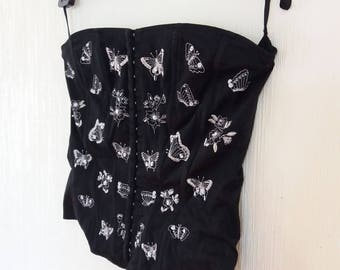 Vintage Black Embroidered Butterfl Lace Victorian style Corset Small/Medium size