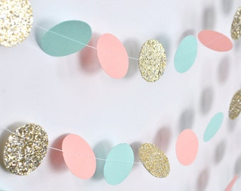 Peach/Light Coral, Mint, Gold, 10ft, Paper Garland, Birthday Party Decor, Wedding Decor, Shower Decor, Nursery