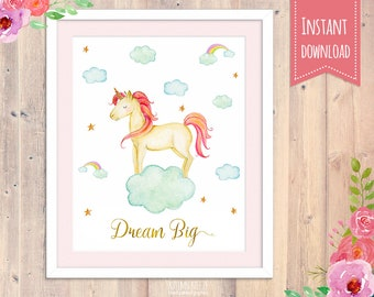 Nursery wall print, Unicorn Wall decor, baby girl nursery prints, boy decor, kids bedroom, nursery wall art, unicorn decor, unicorn print
