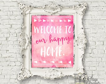 Our Happy Home Print  - 8X10 Digital File - Instant Download - Wall Art - Desk Art - Home Decor - Printable Art