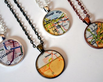 CUSTOM Map Necklace - Recycled Book Jewelry - Your Favorite Place in a Necklace