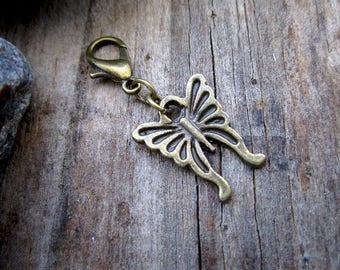 Bronze Butterfly Charm - Midori Charm - Fauxdori Traveler's Notebook Charm