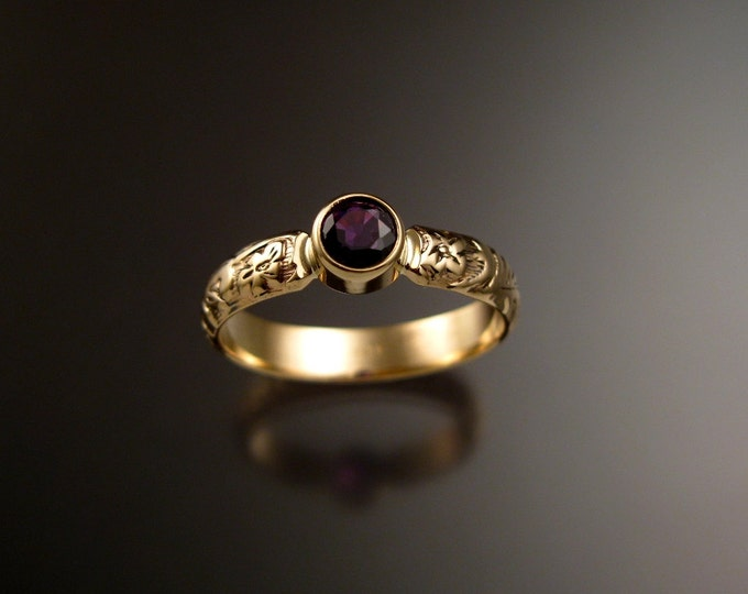 Sapphire Raspberry red Wedding ring 14k yellow Gold Victorian bezel set Ruby substitute ring made to order in your size