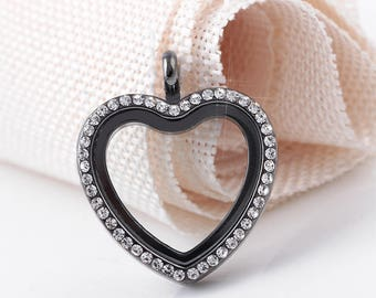 Classic Black Silver floating Heart memory locket with birthstones and lanyard