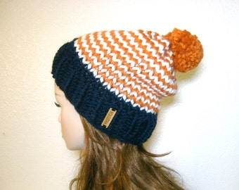 Denver Broncos Hat, Knit Hat, Women Knit Hat, Denver Broncos Slouchy Knit Hat with Pom Pom / Striped / Orange, Blue and White