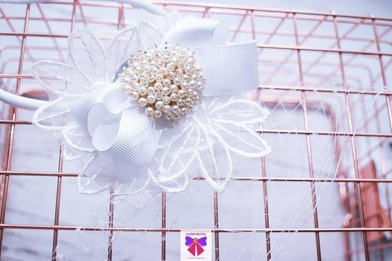 Christening sheer flower rosette and bow headband - Baby / Toddler / Girls / Kids Headband / Hairband / Hair bow /Baptism /First Communion