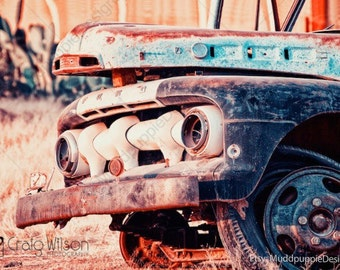 For Him VINTAGE retro CAR PHOTOGRAPHY wall art Classic old cars Rustic headlight grill front ford garage wall decor MuddpuppieDesigns