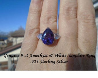 9 ct Amethyst, Green Tourmaline Or Blue & White Sapphire Ring