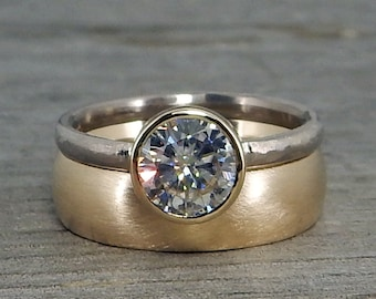 Forever One Moissanite Ring Set - Engagement/Wedding - in Recycled 14k Yellow and 18k Palladium White Gold - Solitaire & Band, Made to Order