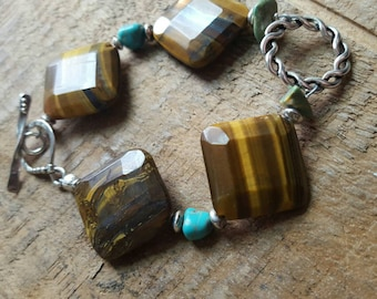 Sterling Silver Toggle Bracelet with Chunky Tiger Eye and Turquoise
